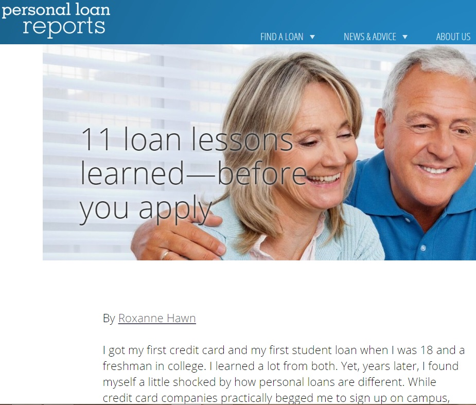 personal loan reports - lessons learned by Roxanne Hawn